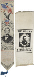 "Political:Presidential Relics, Lincoln Memorial Ribbons. Two lovely silk ribbons honoring the martyred president. A 2.5"" x 12"" multicolored woven ribbon wi... (Total: 2 Items)"