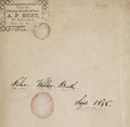 Autographs:Celebrities, The Earliest Known Signature of John Wilkes Booth, penned in his copy of The History of Peter the Great . . . from the Fre...