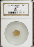 California Fractional Gold: , 1874 50C Liberty Octagonal 50 Cents, BG-930, R.5, MS62 NGC. NGCCensus: (1/0). PCGS Population (8/15). (#10788)...
