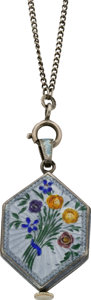 Timepieces:Pendant , Swiss Pendant Watch & Chain with Enamel, circa 1915. ...