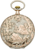 Timepieces:Pocket (post 1900), Swiss Silver & Rose Gold Pocket Watch, circa 1905. ...