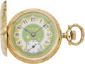 Timepieces:Pocket (post 1900), Elgin Lady's Gold Hunter with Fancy Dial, circa 1906. ...