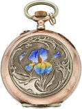 Timepieces:Pocket (pre 1900) , Swiss Art Nouveau Enameled Watch, circa 1898. ...