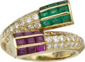 Estate Jewelry:Rings, Ruby, Emerald, Diamond, Gold Ring, Fred, French. ...
