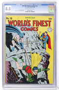 Golden Age (1938-1955):Superhero, World's Finest Comics #16 (DC, 1944) CGC VF+ 8.5 Off-white to white pages....
