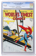 Golden Age (1938-1955):Superhero, World's Finest Comics #12 (DC, 1943) CGC VF/NM 9.0 Off-white to white pages....