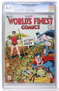 Golden Age (1938-1955):Superhero, World's Finest Comics #11 (DC, 1943) CGC VF+ 8.5 Off-white to white pages....