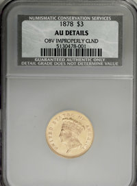 1878 $3 --Obverse Improperly Cleaned--NCS. AU Details. NGC Census: (47/4537). PCGS Population (179/4589). Mintage: 82,30...