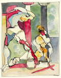 Fine Art - Painting, American:Contemporary   (1950 to present)  , ROMARE HOWARD BEARDEN (American, 1914-1988). Untitled, Two Classical Figures. Watercolor and ink on paper. 25-5/8 x 19-3...