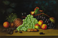 Fine Art - Painting, American:Modern  (1900 1949)  , Manner of GEORGE HENRY HALL (American, 1825-1913). Still LifePineapple, Grapes, Peaches and Walnuts, DATE. Oil on canva...