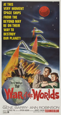 "The War of the Worlds (Paramount, R-1965). Three Sheet (41"" X 81"")"