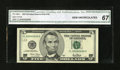 Solid Serial Number Eight Fr. 1988-L $5 2001 Federal Reserve Note. CGA Gem Uncirculated 67