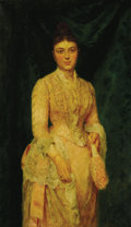 Fine Art - Painting, European:Antique  (Pre 1900), CHARLES CHAPLIN (French, 1825-1911). Lady in Pink. Oil oncanvas. 50 x 29-1/2 inches (127 x 74.9 cm). Signed lower right...