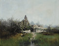 Fine Art - Painting, European:Modern  (1900 1949)  , EUGÈNE GALIEN-LALOUE (French, 1854-1941). Village Church with aDuck Pond. Oil on canvas. 28-3/4 x 36-1/4 inches (73.0 x...