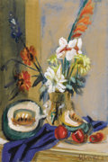 Fine Art - Painting, European:Modern  (1900 1949)  , SIGMUND JOSEPH MENKES (American, 1896-1986). Still Life with Melon and Apples. Watercolor on paper. 27-7/8 x 18-7/8 inch...