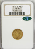 Classic Quarter Eagles, 1839-D $2 1/2 VF30 NGC. CAC....