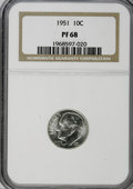 Proof Roosevelt Dimes: , 1951 10C PR68 NGC. NGC Census: (121/6). PCGS Population (26/7).Mintage: 57,500. Numismedia Wsl. Price for NGC/PCGS coin in...
