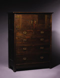 Furniture : American, CRAFTSMAN WORKSHOPS OF GUSTAV STICKLEY. An Oak Chest of Drawerswith Wrought Iron Hardware, model no. 614, circa 1902. Marks...