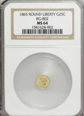 California Fractional Gold: , 1865 25C Liberty Round 25 Cents, BG-802, Low R.5, MS64 NGC. NGCCensus: (1/0). PCGS Population (13/2). (#10663)...