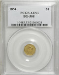 California Fractional Gold: , 1854 $1 Liberty Octagonal 1 Dollar, BG-508, High R.4, AU53 PCGS.PCGS Population (4/56). NGC Census: (0/14). (#10485)...