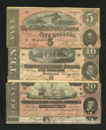 Confederate Notes:Group Lots, T67 $20 1864 (Two Examples). T68 $10 1864. T69 $5 1864.. ...(Total: 4 notes)