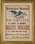 "Military & Patriotic:Civil War, 69th Pennsylvania Volunteers Recruitment Broadside, approximately 22.5"" x 31.5"", printed by King & Baird, Philadelphia, C 18..."