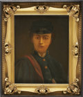 """Military & Patriotic:Civil War, C. Civil War Period Oil on Canvas Portrait of a Young Union Soldier, 19"""" X 23½"""". Great period """"feel."""" Wears Veteran Reserve ..."""
