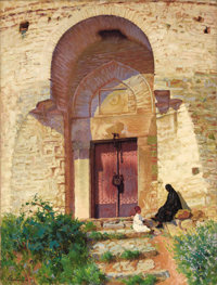 PANOS TERLEMEZIAN (Armenian, 1865-1941) Entrance to the Mosque, 1919 Oil on canvas 36
