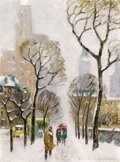 Fine Art - Painting, American:Contemporary   (1950 to present)  , GUY CARLETON WIGGINS (American, 1883-1962). Upper Fifth Avenue. Oil on artist board. 16 x 12 inches (40.6 x 30.5 cm). Si...