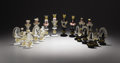 Art Glass:Other , Attributed to ALFREDO BARBINI (Italian, b. 1912). A Thirty-TwoPiece Art Glass Chess Set, Murano, circa 1950. 7-1/2 inches (...(Total: 32 Items)