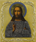 Other, A RUSSIAN ICON OF CHRIST. Late 19th - early 20th century. Maker'smark added: «АС».. 12-1/2 x 10-1/2 inches (31.8 x 26.7 cm)...