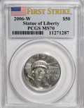 Modern Bullion Coins, 2006-W $50 Platinum MS70 PCGS. First Strike. PCGS Population(329/0). NGC Census: (0/0). Numismedia Wsl. Price for NGC/PCG...