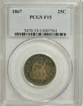 Seated Quarters: , 1867 25C F15 PCGS. PCGS Population (2/32). NGC Census: (0/15).Mintage: 20,000. Numismedia Wsl. Price for NGC/PCGS coin in ...