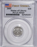 Modern Bullion Coins, 2005 $10 Tenth-Ounce Platinum First Strike MS69 PCGS. PCGSPopulation (288/29). NGC Census: (0/0). (#21108)...