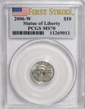 Modern Bullion Coins, 2006-W $10 Platinum MS70 PCGS. First Strike. PCGS Population(279/0). NGC Census: (0/0). Numismedia Wsl. Price for NGC/PCG...