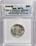 Modern Bullion Coins, 2006-W $25 Platinum SP70 ICG. First Strike. NGC Census: (0/0). PCGSPopulation (221/0). Numismedia Wsl. Price for NGC/PCGS...
