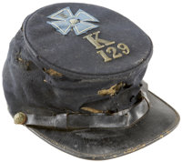 Commercially Produced Forage Cap with V Corps Badge and Unit Insignia. This standard, private purchase forage cap was