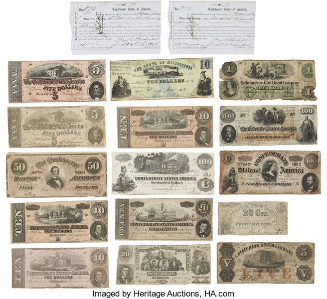 Eleven Civil War Notes, Four Confederate Broken Bank Notes and Two