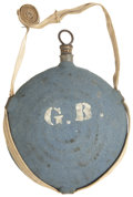 Military & Patriotic:Civil War, Concentric Ring Canteen with Blue Kersey Covering and Owner's Initials. This Philadelphia Depot canteen retains its full whi...