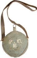 Military & Patriotic:Civil War, Blue Kersey Covered Philadelphia Depot Canteen with Soldier-Installed Leather Strap. This concentric ring canteen has great ...