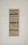 "Autographs:Celebrities, John Wilkes Booth Playbill. Broadside, 6"" x 15"", Boston, May 12, 1862, printed by F. A. Searle for a performance of John Wil..."