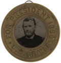 Political:Ferrotypes / Photo Badges (pre-1896), Grant & Colfax: A Scarce Large 1868-Dated Ferrotype PicturingBoth on Opposite Sides....