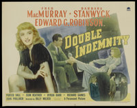 "Double Indemnity (Paramount, 1944). Half Sheet (22"" X 28"") Style B. Film Noir"