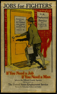"War Propaganda Poster (U.S. Department of Labor, 1910s). World War I Poster (15"" X 25"") ""Jobs For Fighter..."