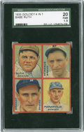 Baseball Cards:Singles (1930-1939), 1935 Goudey 4 in 1 Babe Ruth SGC 20 Fair 1.5....
