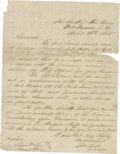 Autographs:Military Figures, Very Rare Manuscript Order Addressed to Confederate Cherokee Gen. Stand Watie and Docketed by Him on the Verso....