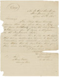 Autographs:Military Figures, Important Manuscript Order to Confederate Cherokee Gen. Stand Watie Docketed by Him on the Verso....
