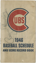 Autographs:Others, 1946 Rogers Hornsby Signed Chicago Cubs Schedule....