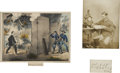 """Autographs:Military Figures, Boston Corbett Signature """"Boston Corbett Serg. Co 'L' 16th N. Y. Cavalry"""" Framed with a Period Lithograph and a ..."""