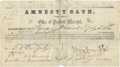 "Autographs:Military Figures, The original ""Amnesty Oath"", dated July 26, 1865, and issued at Warrenton, Va. to Confederate Maj. Gen. William 'Extra Billy' ..."